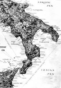 Carta geografica americana dell'Italia meridionale
