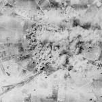 Immagini di un feroce bombardamento - si riconosce Foggia dal perimetro del cimitero