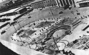Cantiere per la costruzione della fontana