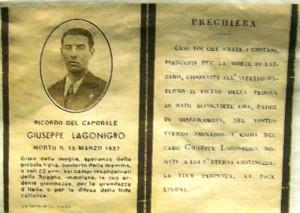 Nato a Foggia il 29/08/1915 (dato per morto in guerra il 13/03/1937) Legionario - Morto a Nèrac (Francia ) nel 1966