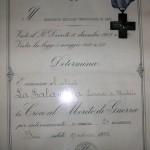 Il 29 settembre 1955 gli fu concessa la Croce al Merito di Guerra per internamento in Germania
