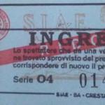 Un biglietto degli anni 70