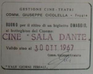 Buono per un biglietto anni 60