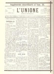 """Il giornale foggiano """"L'Unione"""" annuncia la morte di Garibaldi e Ricciardi"""